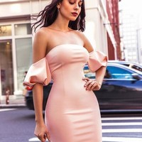 Vlasta Light Pink Off Shoulder Puffy Sleeve Stretch Crepe Dress