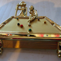 Pool Billiards Vintage Jewelry Pin Brooch Novelty AJC signed, unique gift under 20. collectible vintage jewelry