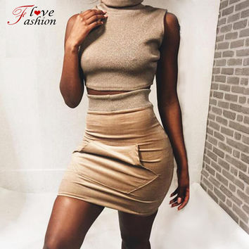 Two Pieces Dress Women Winter Dresses 2016 Hand Made Outfits Bodycon Shawl Collar Autumn Knitted Sweater Women Dresses
