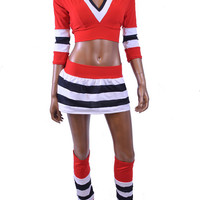 Sporty 4PC Skirt, Top & Legwarmers Set in Chicago BLACKHAWKS Ice Crew Colors