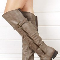 Taupe Side Zipper Thigh Boots