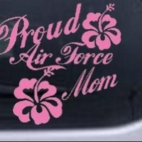 8in X 8.8in Pink -- Proud Air Force Mom Hibiscus Flowers Military Car Window Wall Laptop Decal Sticker