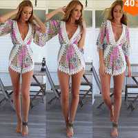 10-color Print V-neck Sexy Long Sleeve Romper [4918511812]