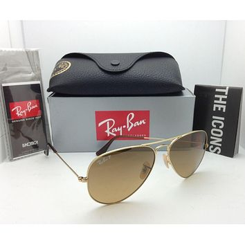 Polarized RAY-BAN Sunglasses RB 3025 001/M2 58-14 Gold Aviator w/ Brown Gradient