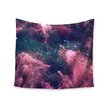 """""""Cotton Candy Space"""" Pink Blue Galaxy Cloud Wall Tapestry"""