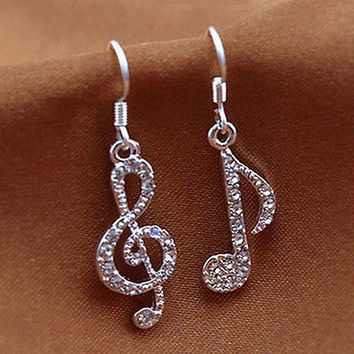 Personality Trendy Music Notes Clear Crystal Silver Lady Dangle Party Earrings H