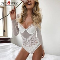 SEBOWEL Women Long Sleeve Sexy Lace Mesh Patchwork Bodysuit Autumn Lace Jumpsuits Female Sexy One Piece Nightclub Playsuits