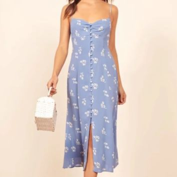 Summer new slim slim single-breasted printed dress