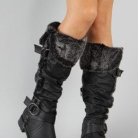 Fur Cuff Buckle Slouchy Riding Boot