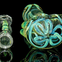 Slyme Tyme Deluxe 2 Piece Glass Pipes Set - Large Spoon Bowl and Chillum Pipe - Clear with Slyme Green Designs & Marbles - 2 Pc Heady Combo