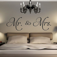 D542 Mr. & Mrs.  vinyl wall decal living room decor stickers removable convenient wallsticker