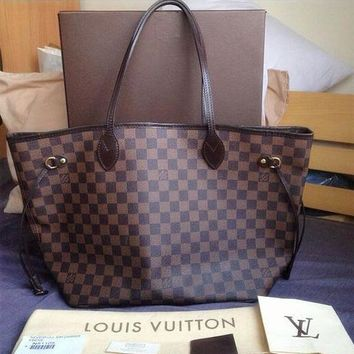 LV classic street fashion women's shopping bag shoulder diagonal female bag two-piece Coffee check