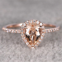 Pave Accents Halo 1.2CT Natural Morganite Gemstone Ring Pear Cut Natural Morganite 10k Rose Gold Engagement Wedding Ring