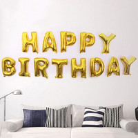 Multicolor Aluminum Foil Balloons 16inch Happy Birthday Letter Shaped Balloons Birthday Party Decorations Kids Air Balls JM0150