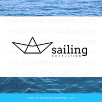 OOAK Premade Logo Design - Origami Boat - Perfect for a marketing business or a social media manager