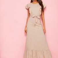 Solid Ruffle Hem Belted Maxi Dress