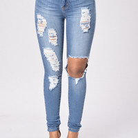 Shark Attack Jegging - Medium Blue