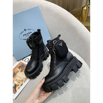prada trending womens black leather side zip lace up ankle boots shoes high boots 1