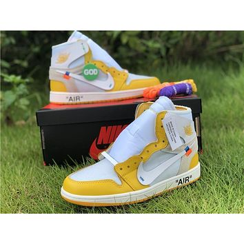 Off White X Air Jordan 1 Powder Yellow | AQ0818 149 Sneakers