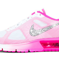 Nike Air Max Sequent + Swarovski Crystal Swoosh - White/Pink