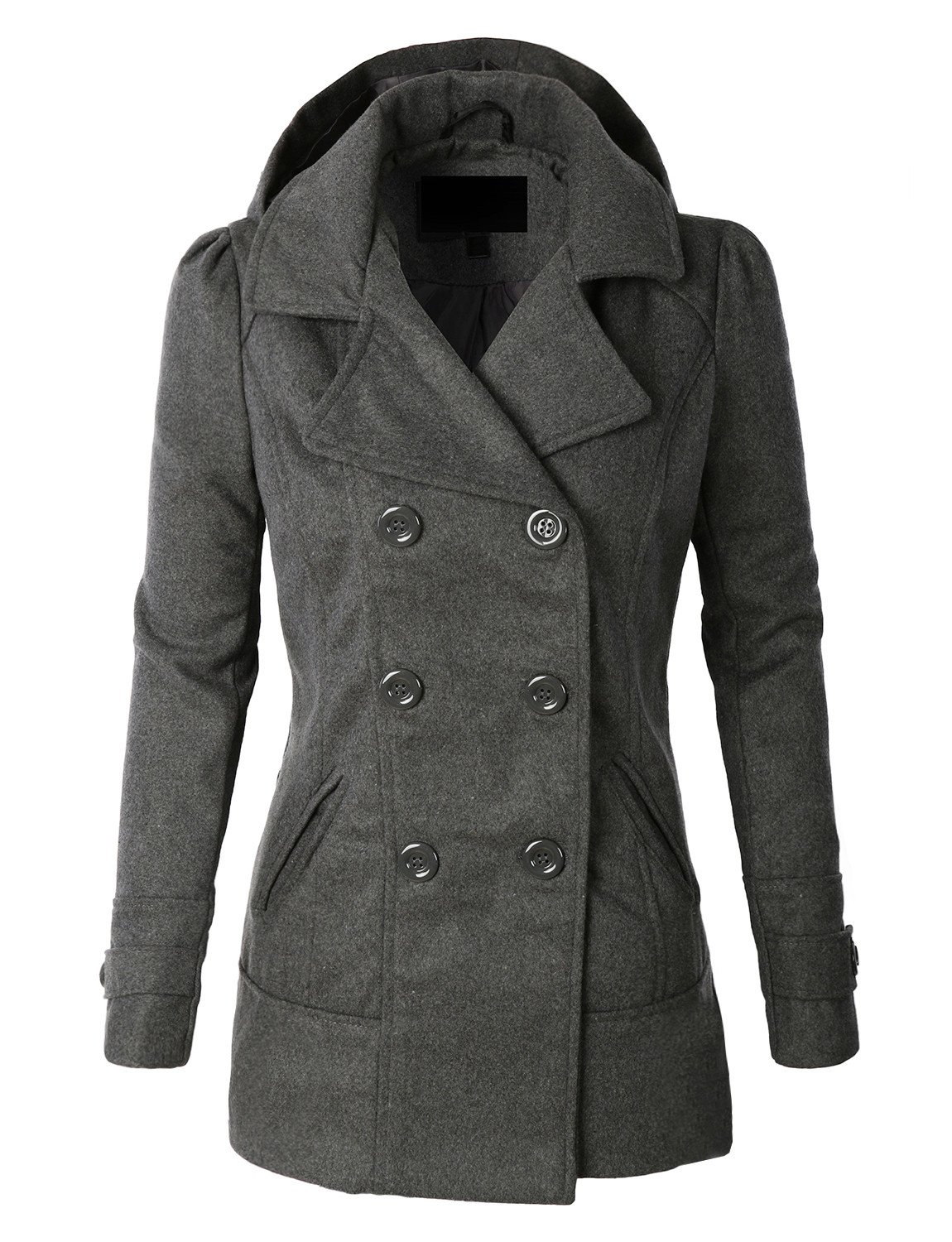 Image of Classic Wool Double Breasted Pea Coat Jacket With Hoodie (CLEARANCE)