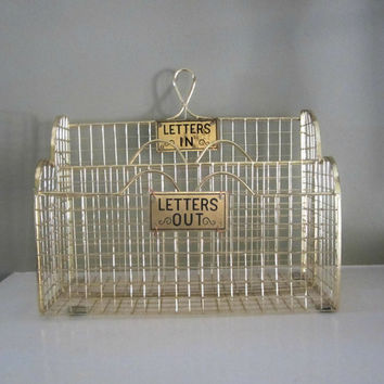 Wire Mail Organizer , In/Out Mail Sorter , Metal Letter Organizer , Bills Mail Holder , In Out Box , Desk Accessory , Mail Organizer