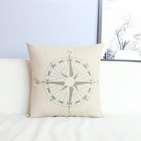 "Cotton and Flax Decorative Pillow Case Pillow Cover Case 18"" x 18"" Square Shape Compass Printed Surface PDP 0519"
