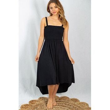 Lost In Paradise Black Smocked Maxi Dress