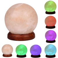 Himalayan Salt Lamp 3W USB LED Night Light Table Desk Lamp Crystal Rock Carved Sphere 7 Color Changing Lights Decorations 220V