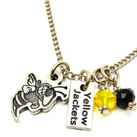 Yellow Jacket Mascot With Yellow Jackets Tab Necklace