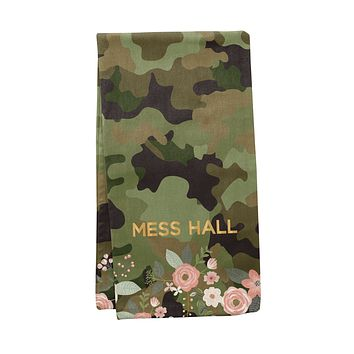 Mess Hall Tea Towel in Camouflage / Funny Snarky Dish Cloth / Novelty Silly Tea Towels / Military Print / Cute Hilarious Kitchen Hand Towel