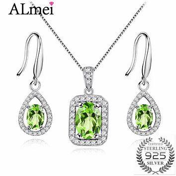 Almei Natural Gemstone Green Peridot Hook Earrings Women Halo Pendant Necklace Pure Silver 925 Fine Jewelry Sets with Box