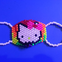Neon Melting Rainbow Hello Kitty Kandi Mask