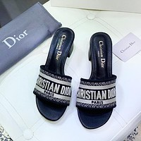 DIOR Fashion New Letter Print Women Leisure Slippers Shoes Black