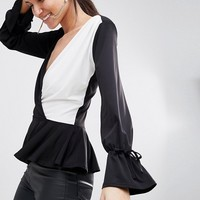 John Zack Tall Wrap Front Blouse at asos.com