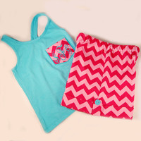 Chevron Shorts Pink shorts and Emboridered Chevron Pocket Tank boutique clothing 4/5, 6/6X, 7/ 8, 10/12 and 14