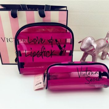 Beauty Hot Deal On Sale Hot Sale Waterproof Stripes Transparent Make-up Bag [12149145491]