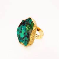 Gold Lined Turquoise Statement Ring