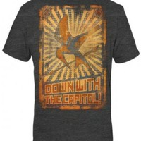 The Hunger Games - Down W/Capitol Poster Adult T-Shirt In Heather Charcoal