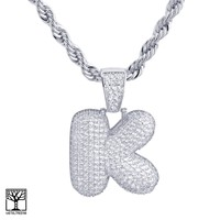 """Jewelry Kay style K Initial Silver Plated Custom Bubble Letter Iced CZ Pendant 24"""" Chain Necklace"""
