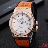 Hublot Fashion Ladies Men Simple Casual Movement Watches Wrist Watch 2# Orange I-YY-ZT