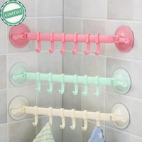 Towel Holder Rack Wall Suction Cup 6 Hooks Bathroom Kitchen Door Wall Hanging Organizer Storage Rack Holder Towel Sucker Hanger