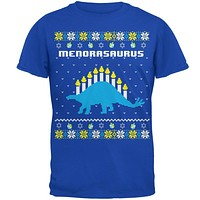 Hanukkah Ugly Sweater Menorasaurus Menorah Stegasaurus Mens Soft T Shirt
