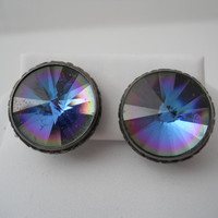 Sterling Silver 925 Multi Color Multi Faceted Round Earrings Prism Crystal Post Sterling Ear Rings