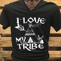 SALE Southern Chics Apparel I Love My Tribe Teepee V-Neck Canvas Girlie Bright T Shirt