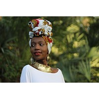 African Print/ Ankara Headwrap - White/Orange/Red Floral Print