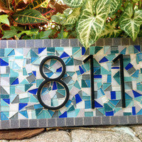 Teal and Gray Mosaic Address Sign // Outdoor House Number Plaque