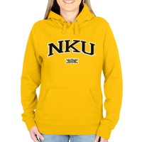 Northern Kentucky University Norse Ladies Logo Arch Applique Pullover Hoodie - Gold