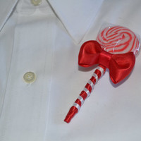 Red Lollipop Candy Boutonniere