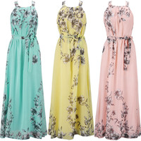 Summer Boho Long Maxi Dress Evening Party Beach Dresses Chiffon Dress S-6XL